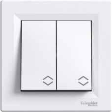 Выключатель 2-клавишный белый проходной Schneider Asfora EPH0600121