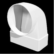 Соединитель 90° прямоугольного воздуховода с фланцевым воздухораспределителем Омис (60х120/D100)