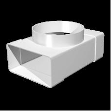 Соединитель Т-обр. плоских воздуховодов с выходом на фланцевые воздухораспределители Омис (55х110/D100)
