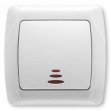 Выключатель 1-клавишный белый с подсветкой Viko KARMEN