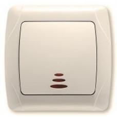 Выключатель 1-клавишный кремовый с подсветкой Viko KARMEN