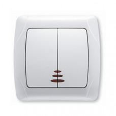 Выключатель 2-клавишный белый с подсветкой Viko KARMEN