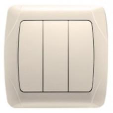 Выключатель 3-клавишный кремовый Viko KARMEN